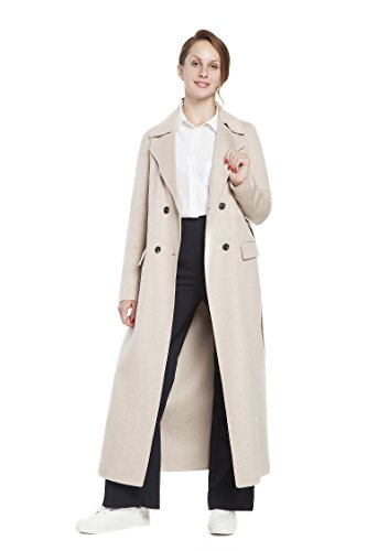RLM Ladies Handmade Fashion Coat Woolen Double-Breasted Coat with Belt Slim Coat (12, Light Brown) by RLM (Image #1)