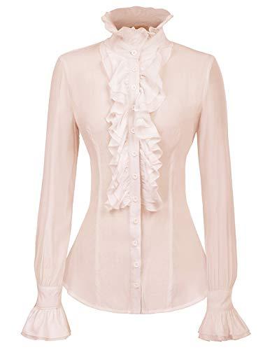 Women Gothic Lolita Lotus Ruffle Shirts Kaki Victorian Blouse Kaki L ()