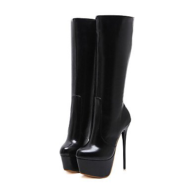 Heart&M Mujer Zapatos Cuero Primavera Otoño Invierno Confort Innovador Pump Básico Botas Tacón Stiletto Mitad de Gemelo Cremallera Para Boda red