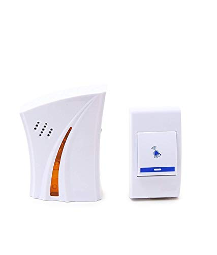 MOBONE Safety and Security Purpose Cordless Wireless Calling Remote Door Bell for Home Shop Office [White]