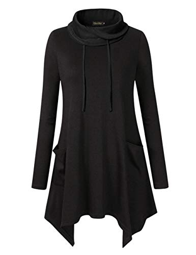 Glorystar Women's Long Sleeve Cowl Neck Asymmetrical Hem Tunic Tops Sweatshirts with Pockets Black ()