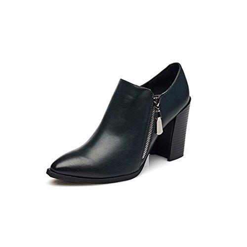 KHSKX-La Nueva Patente De La Moda Otoño Zapatos De Cuero Zapatos De Tacon Alto Una Cremallera Lateral blue