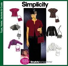 Simplicity 9016 Pattern Size HH (6,8,10,12) Misses' Jacket, Purses, and Knit Jacket