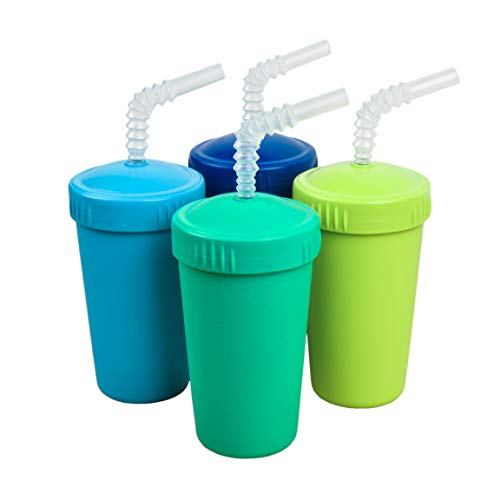 Re-Play Made in The USA 4pk Straw Cups for Baby, Toddler, and Child Feeding - Sky Blue, Aqua, Lime Green, Navy (Under The Sea+)
