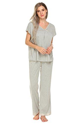 Women Pajamas Set Short Sleeve V-Neck Pullover Tops With Pants Cotton PJ (Sleepwear Silk Sleep Pant)