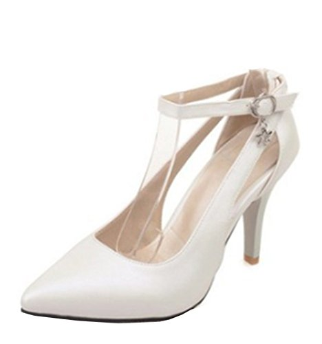Easemax Womens Pointed Toe Cutout High Stiletto Heel Ankle Buckle Strap Pumps Shoes With Pendants White 0kj5pUfv