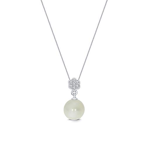 La Joya 925 Sterling Silver 1/20ct Round White Diamond 8.00mm Freshwater Cultured Pearl Flower Pendant Necklace