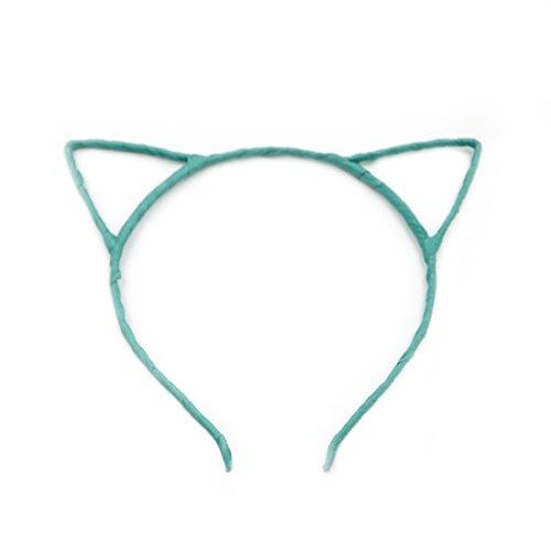 Angelakerry 20pcs Green Cat Ear Girl Metal Black Headband Simple Fashion DIY Wholesale