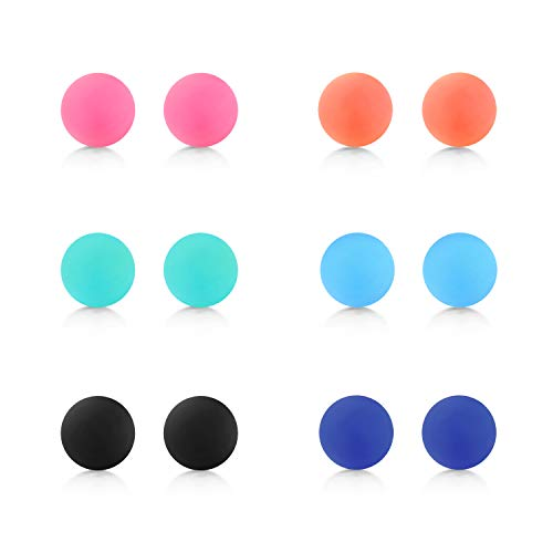 (D.Bella Mix Color Rubber UV Acrylic Replacement Balls Retainer Piercing Barbell Parts 14G 5mm Balls for Women Men)