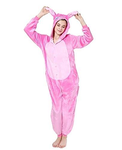 (Marolaya Flannel Blue Stitch Powder Rose Red Animal One-Piece Pajamas)
