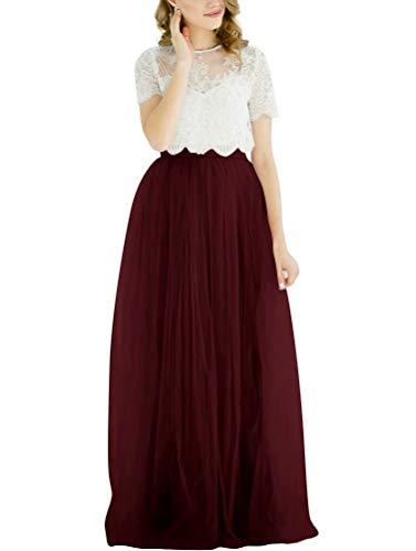 Lanierwedding Summer Beach Tulle Long High Waist Maxi Skirt with Belt for Wedding 2017 (L, Dark Burgundy) (Long Burgundy Skirt)