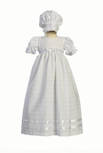 Long Cotton Embroidered Christening Baptism Gown - Size L (12-18 ()