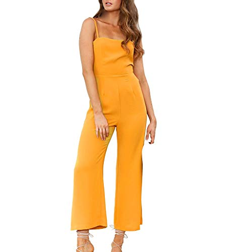 Fashion Womens Backless Playsuit, Holiday Strappy Wide Leg Pants Dressy Casual Cute Long Jumpsuit ❤️Sumeimiya Yellow