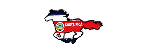 Tookkata - 1 Pcs Country Flag Embroidered Iron on Backing Patch Heat Seal Biker Horse Applique # Costa Rica
