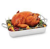 Wolfgang Puck Stainless Steel Roasting Pan with Rack 16.5 Inch by Wolfgang Puck