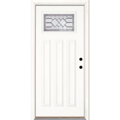 Feather River Doors Mission Pointe 32 in. x 80 in. Smooth White Ready to Paint Prehung Left-Hand Inswing Zinc Craftsman Fiberglass Door