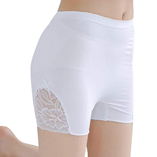 Crytech Womens Ultra Soft Lace Embroidered Under Skirt Leggings Pants Lightweight Breathable Extra Stretch Short Leggings Fitness Kick Shorts Comfy Boyshorts Underwear (White)