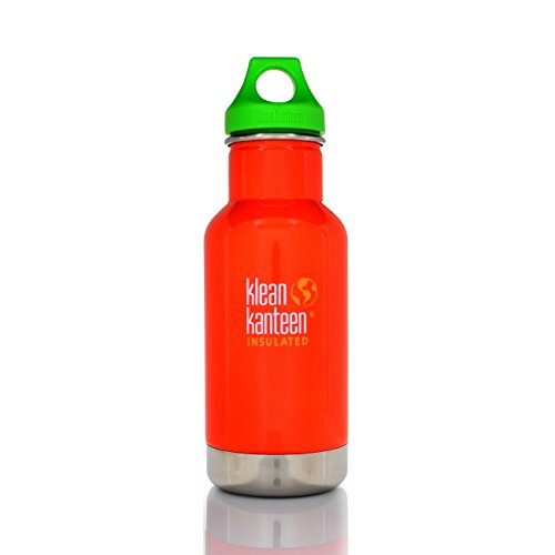 Klean Kanteen Kid's Puffin's Bill Vacuum Insulated Storage with Green Loop Cap, 12-Ounce
