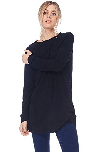 French Terry Sweatshirt (Alexander + David A+D Womens Casual Baby Terry Loose Sweatshirt Tunic Dress (Black, X-Large))