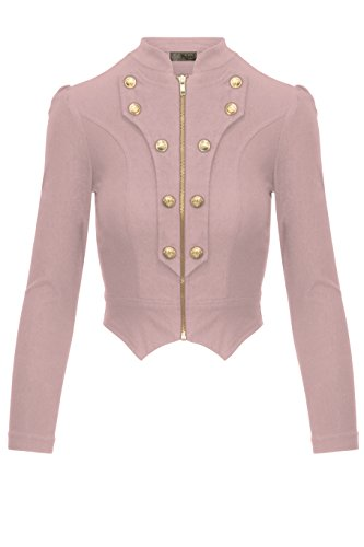 (Women's Military Crop Stretch Gold Zip up Blazer Jacket KJK1125 Blush XLarge)