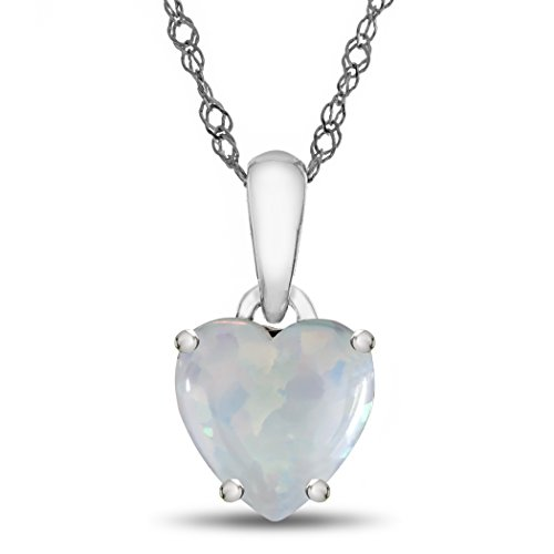 - Finejewelers 10k White Gold 7mm Heart Shaped Created Opal Pendant Necklace