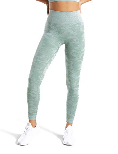 - MOYOOGA Camo Seamless Leggings for Women High Waisted Gym Workout Capri Yoga Pants Athletic Tights Tummy Control (Medium, Sage Green)