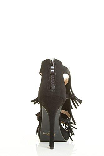 Forever Link Womens Open Toe Stiletto Heel Platform Fringe Layer Back Zipper Pump Sandal Black Zx68iKx