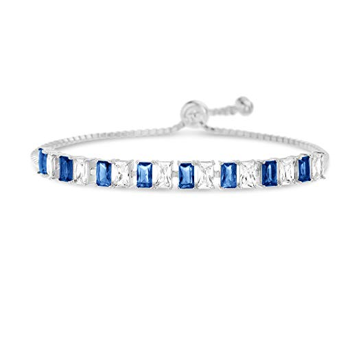 INSPIRED BY YOU. Radiant Cut Prong Set Simulated Blue Sapphire and Cubic Zirconia Adjustable Tennis Bracelet for Women in Rhodium Plated 925 Sterling Silver -