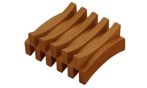 Rectangle Curved (Beech Wood Double Curved Rectangle Wood Soap Dish, L 3¾ - W 3½ - H 1½ by Perfectly Natural Soap)