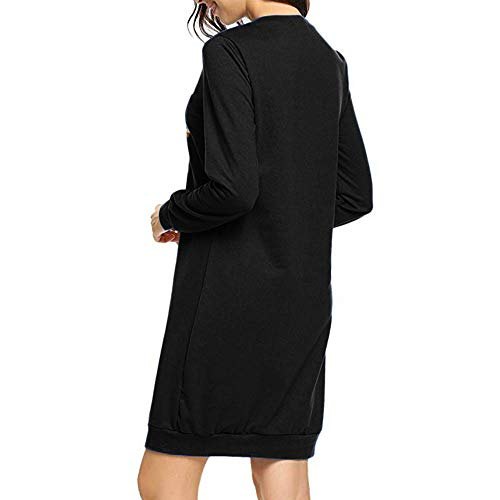 Moonuy Sweat Tunique Cordon Pull Robe Noir01 Dress Manche Noël Costume Blouse Tricot Chaud Imprimé Shirt Renne Mini À Christmas Pullover Capuchon Haut shirt Tee Femmes Longue Sweat HEIW9D2