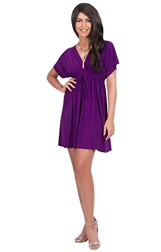 KOH KOH Womens Caftan Kaftan V-Neck Beach Summer Kimono Short Sleeve Sexy Cover Up Cheap Cute Sundress Sundresses Sun Day Tunic Mini Dress Dresses, Indigo Blue Purple L 12-14