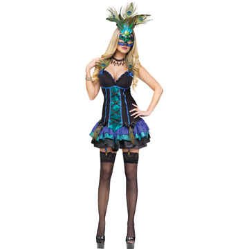 Fun World Sexy Peacock, Turquoise/Green, Small 6-8 (Sexy Peacock Adult Costumes)