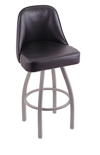 Holland Bar Stool Co. 840 Grizzly 30'' Bar Stool with Anodized Nickel Finish and Black Vinyl Swivel Seat, Black Vinyl by Holland Bar Stool
