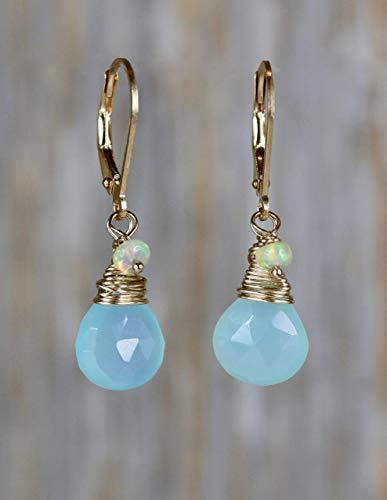 - Opal Gemstone Aqua Pear Drop Earrings-14k Gold Filled- 1.2