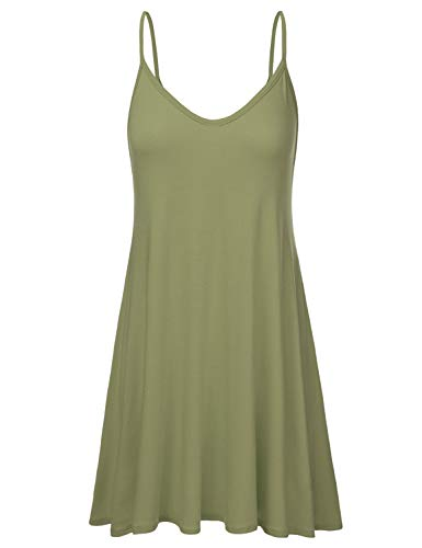 (NINEXIS Women's Basic Spaghetti Strap Cami Tank Tunic Dress DUSTYSAGE 3XL)