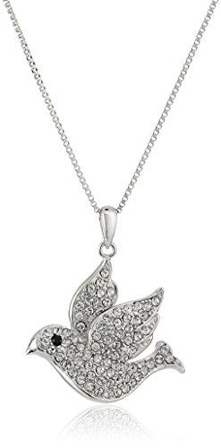 White Dove Necklace (Sterling Silver White Dove Made with Swarovski Pendant Necklace, 18