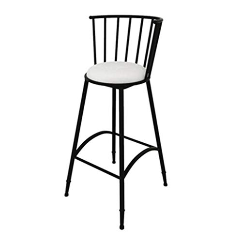 Bar Stools, Garden Chair Garden Bar Stool in a Romantic Design Handmade from Iron Seat Height Outdoor High Foot Stool (Color : Black, Size : 75cm)
