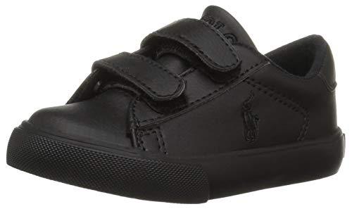 Polo Ralph Lauren Kids Boys' Easton EZ Sneaker, Triple Black Tumbled, 13 Medium US Little -