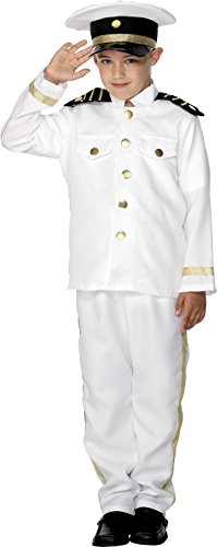Smiffys Children's Captain Costume,  Jacket, Trousers and Hat, Ages 10-12, Size: Large, Color: White, 30025