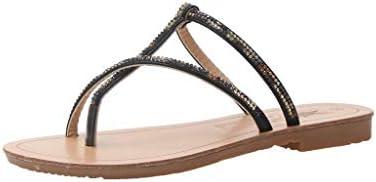 b56d8f39dad24 VESNIBA LLC Women's Summer Rhinestone Strap Flat Sandals ...
