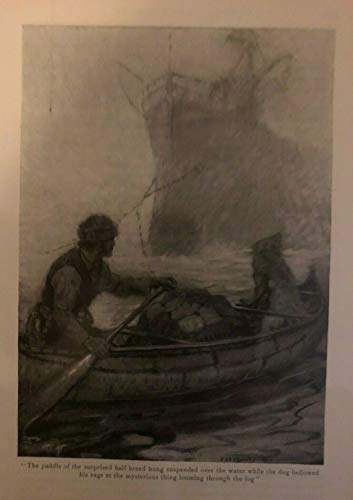1917 Vintage Magazine Illustration Hudson's Bay Trader and Dog in Canoe