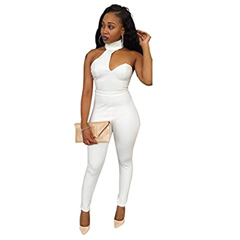 Elevin(TM)New Sexy Womens Backless Slim Long Pants Jumpsuit Romper Trousers (XXL) - Smocked Waist Silk Blouse