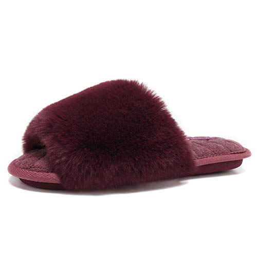 (fanture Women's Furry Faux Fur Slippers Cozy Memory Foam House Slippers Soft Comfy Flat Slide Sandals Indoor Outdoor Slip on-U419WMT035-Purple05-38-39)