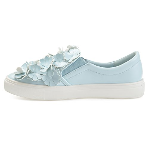 Journee Collection Womens Cascading 3D Flowers Faux Leather Slip-on Sneakers Blue UqOzEq4f0u
