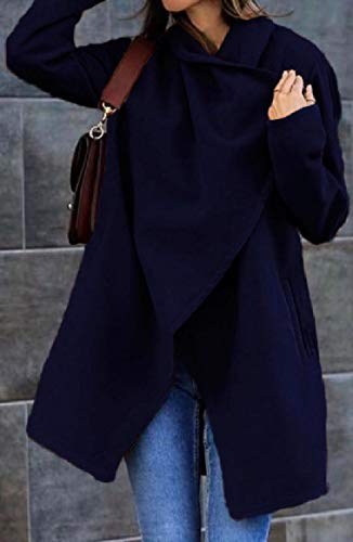 Parka Color down Lana Unita Di Blu Con Relaxed Rkbaoye Collar Fit Women Tinta Scuro Giacca Turn 4OgqwEH8