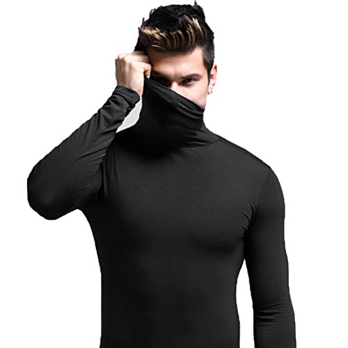 (Ouruikia Men's Lightweight Thermal Shirts Modal Base Layer Turtleneck Long Sleeve Pullover Tops (Small,)