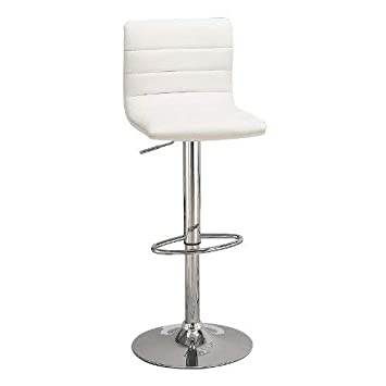 Awe Inspiring 29 Upholstered Bar Stools With Adjustable Height White And Chrome Set Of 2 Gamerscity Chair Design For Home Gamerscityorg