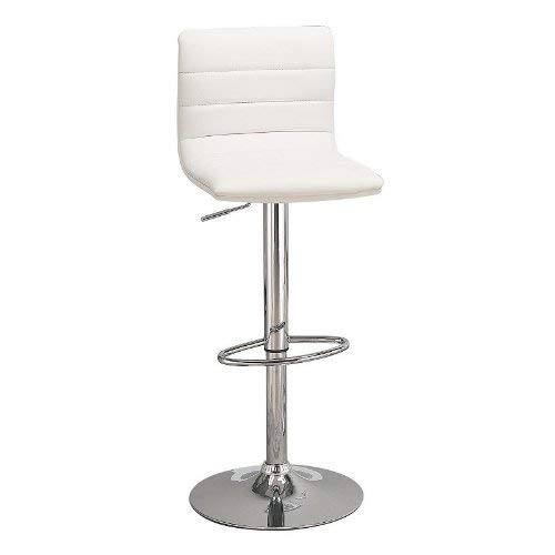 Pleasant 29 Upholstered Bar Stools With Adjustable Height White And Chrome Set Of 2 Gamerscity Chair Design For Home Gamerscityorg