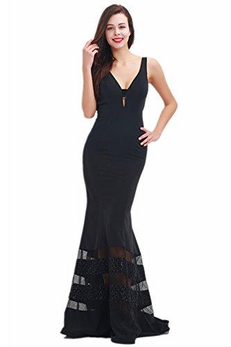 Women's Long Evening Dresses Deep V-Neck Backless Sleeveless Beading Floor Length Party Prom Gowns Black US ()