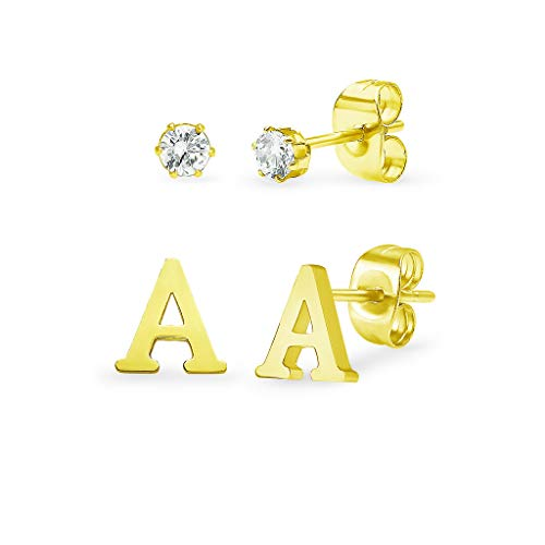Stainless Steel Yellow Gold Tone Alphabet Initial Letter Tiny Earring Studs With Cubic Zirconia 3mm Set Letters A-Z